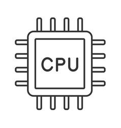 Cpu linear icon vector