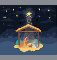Cute holy family in stable manger characters vector