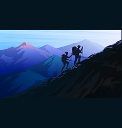 Dark blue mountains amazing foggy layered vector