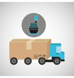 Delivery truck concept container ship vector