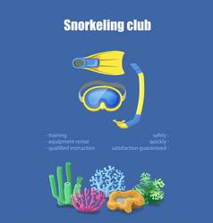 diving mask snorkel flippers snorkeling poster vector image