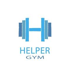 Dumbbell idea H letter logo of gym fitness blue vector