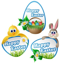 easter label set with cartoon characters vector image