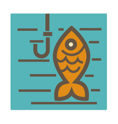 fishing hobisolated icon golden fish and hook vector image