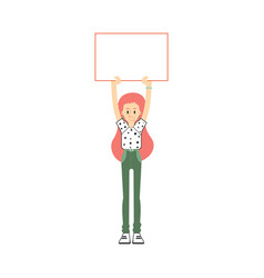 Flat business woman with blank placard vector