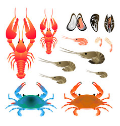 Flat gradient sea food concept isoleted on white vector