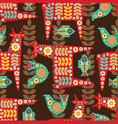 Folk seamless pattern in scandinavian vector