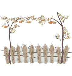 Frame in the form of a fence and rowan EPS10 vector image