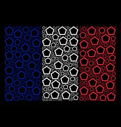 France flag mosaic of contour pentagon icons vector