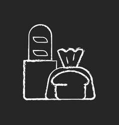 fresh bread takeout chalk white icon on black vector image