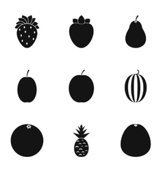Fruit icons set simple style vector image