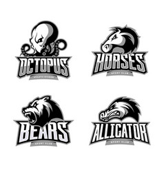 Furious octopus horse bear and alligator sport vector