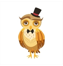 Gentleman Owl In Top Hat Cute Cartoon Character vector