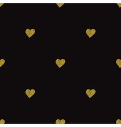 Gold hearts on black background Seamless pattern vector image