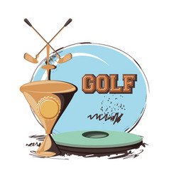 Golf club label with trophy cup vector