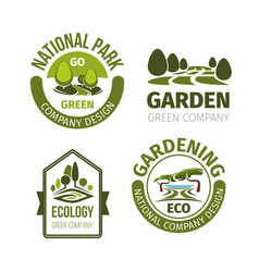 Green park or garden design icons vector