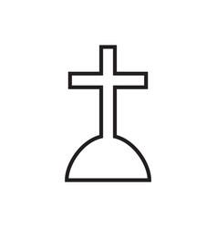 Halloween grave icon in line style gravestone vector