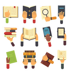 hands with books holding book in hand reading vector image