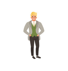 Handsome young man in fashion elegant clothes vector