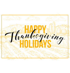happy thanksgiving hand drawn banner template vector image