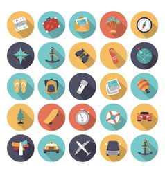 Icons flat colors travel vector