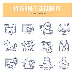 Internet Security Doodle Icons vector image