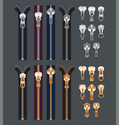 isolated realistic metal zippers or 3d fabric zip vector image