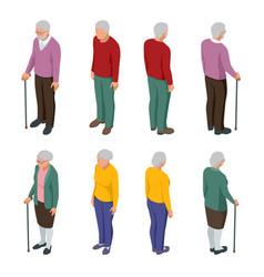 isometric senior couple group senior people vector image