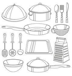 kitchenware coloring book for vector image