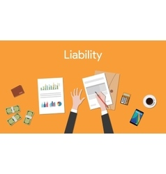 Liability text sign with business man signing a vector