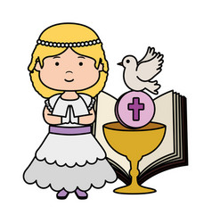 Little girl with bible and chalice first communion vector
