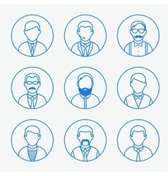 Man outline silhouettes People line icons vector image