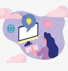 Meeting online woman using computer world vector
