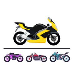 modern bike design yellow scooter set motorbikes vector image