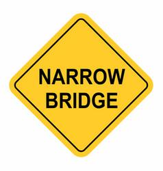 Narrow bridge traffic sign vector