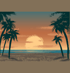 Ocean sunset vector