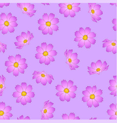 Pink cosmos flower on violet background vector