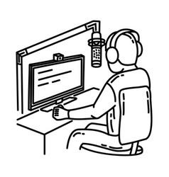 Radio presenter icon doodle hand drawn or outline vector