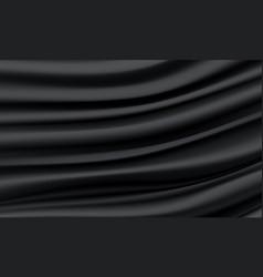Realistic black silk satin wrinkled fabric wave vector