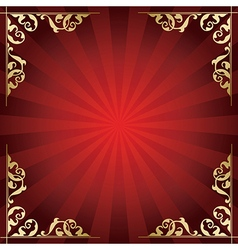 red background with golden ornamental corners vector image