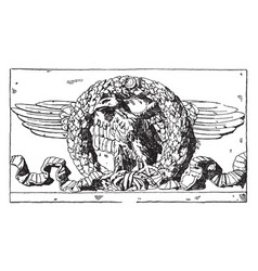 Roman eagle is in an oak garland a bas-relief vector