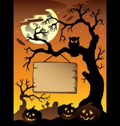 scene with halloween tree 1 vector image