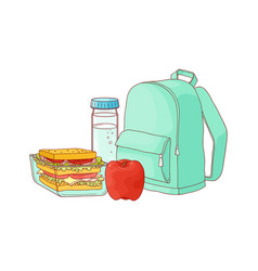 School backpack and food for lunch break vector
