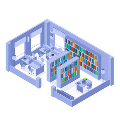 school or university isometric library bookshelves vector image