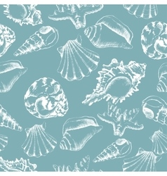 Seamless of hand-drawing style with shells vector image