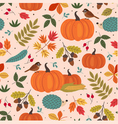 seamless pattern with autumn colorful elements vector image