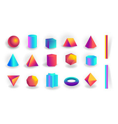 set 3d geometric shapes and editable strokes vector image