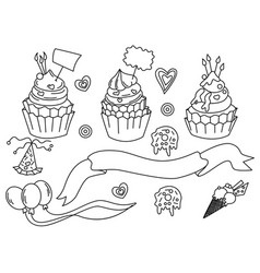 set for birthday party design in vector image