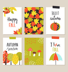 Set of artistic creative autumn cards hand drawn vector