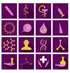 set of medecine icons onflat style with shadow vector image